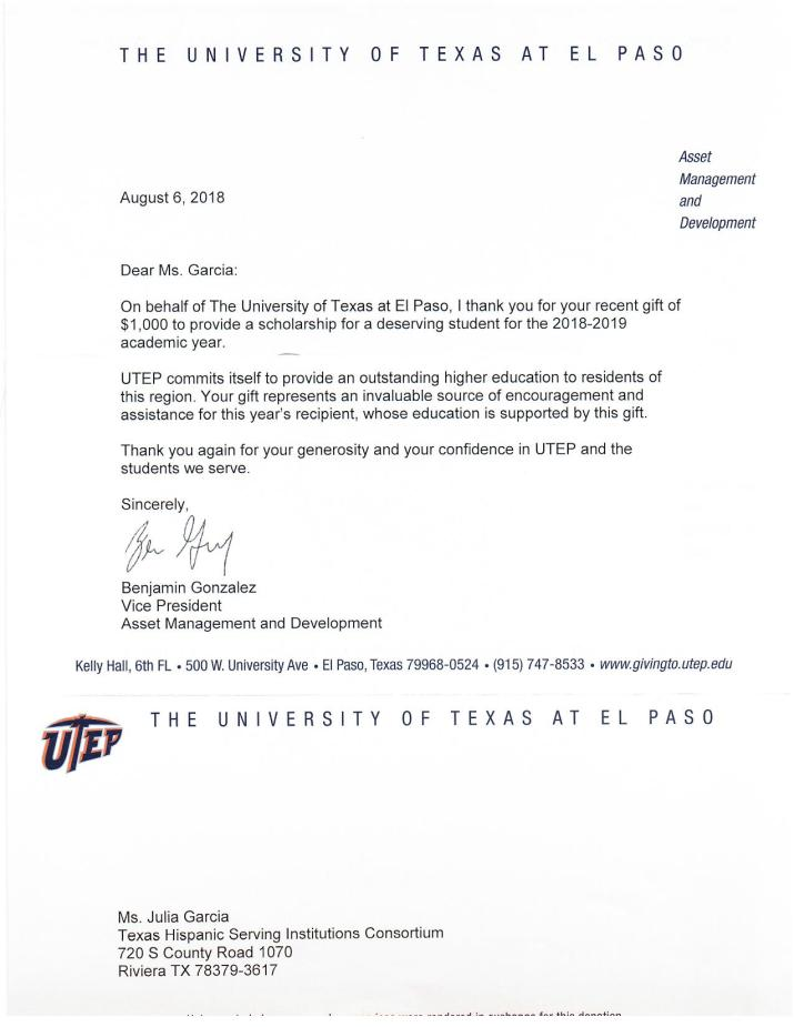 Thank you letter from UTEP